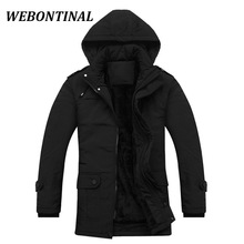 WEBONTINAL 2017 Brand Casual Overcoat Warm Winter Male Jackets Men Parkas Man Coat Hooded Thick Quality Velvet Padded Outerwear
