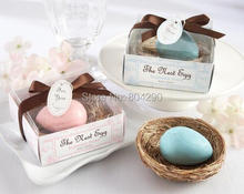 "Free Shipping Fashion Pink Blue ""The Nest Egg"" Scented Egg Soap in Nest Gift Box 50 PCS"