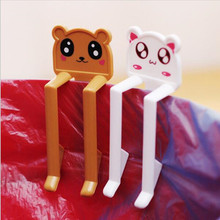 2pcs/set Color Randomly Send Lovely Cartoon Animal Garbage Bag Clip Cartoon Trash Clip Junk Folder Clips Free Shipping!