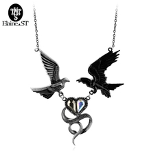 Vintage Style Jewelry Black Enamel Bronze Swallow Bird Pendant Necklace For Women heart Girl Gift(China)