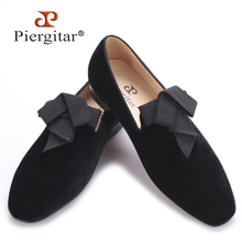 2017 handsome smoking slipper in black silk with a refined velvet band detail Party and Wedding men Loafers male dress shoes(China)