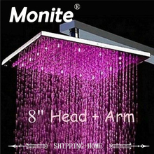 "LED Light Shower Head 8""   Water Power NO Need Batteries Chrome Bathroom Basin Sink Faucet Mixer Tap Shower Head"