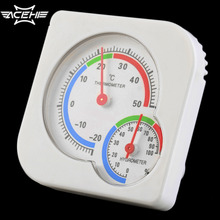 White Mini Thermometer for Nursery Baby House Room Wet Hygrometer -20~50 Deg.C Temperature Meter Plastic Analog Weather Station