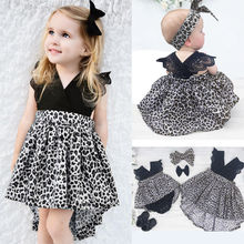 0-7Y Fashion Baby Girl Clothes Leopard Suit Lace Ruffles Sleeve Romper Dress + Headband 2pcs Outfit Toddler Kids Summer Costume(China)