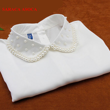 Fashion White False Collar Blouse Detachable Collars Women Clothes Pearl Accessories A013
