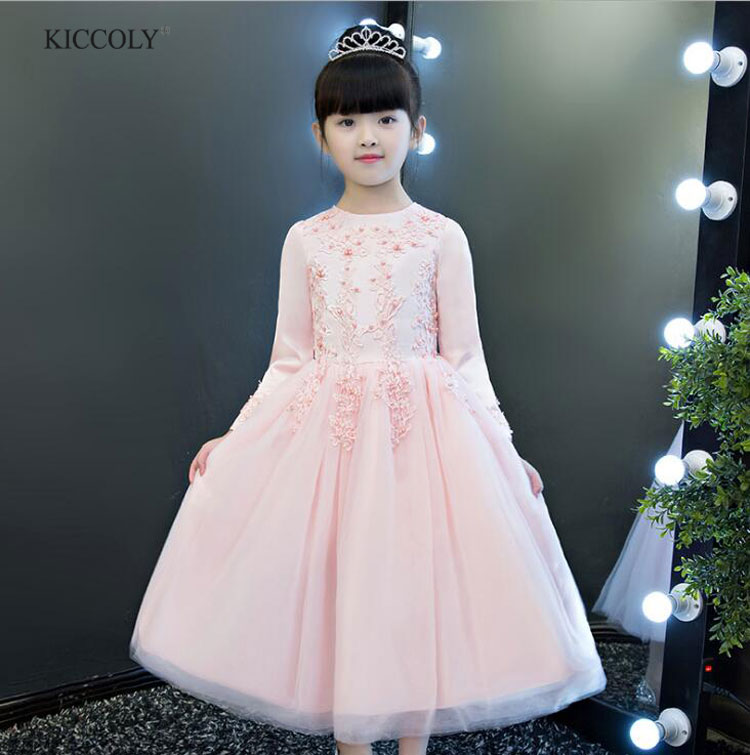 2017 Autumn Flower Gir Princess Dress Kids Long Section Of Handmade Beaded Wedding Party Dress Childrens Birthday Tutu Dress <br>