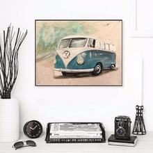 VW Bulli Bus Watercolor Modern Poster Art Wall Pictures Silk Fabric Printed Painting Room Decoration Home Decor No Frame