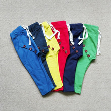 SQBCMW 2017 Hot sale Unisex size90~130 children pants for boys trousers girls harem pants candy solid colors buttons(China)