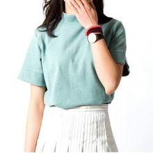 New Fashion 2017 Summer Korean Style All-match Solid Turtleneck Short Sleeve Women T-shirt Female Shirt Fresh Color Women Tops(China)