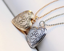 2016 New Arrival Valentines Gift Pet Dog Paw Charm Pendant Box Photo Locket fit Necklace Women Heart Shape Jewelry
