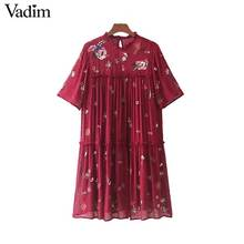 Vadim sweet floral embroidery chiffon sequined dress pleated ruffled collar short sleeve mini dresses vestidos mujer QZ3275(China)