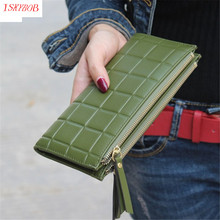New Fashion Stereoscopic Square Women Wallets Embossed Wallet Female Clutch Double Zipper Purses Feminia Gift(China)