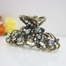 Women's metal hair clips large crystal hair claws fashion hair jewelry hair accessories wholesale(China)