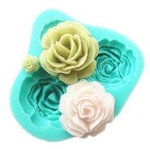 Cheap Promotional 1PCS 3D Rose Flowers shape Fondant Cake Chocolate Soap Mold Mould silicone baking forms cooking tools(China)