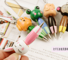 [4Y4A] 5pcs/Lot Cartoon Gel pen student gift lovely wooden cartoon animals carry pen ballpoint pen short pendant