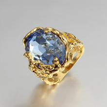 gold-color women hollow gift ring paved large blue cz zircon design high quality gift jewelry finger weeding ring jewellery(China)
