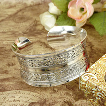 Vintage Antalya Boho Statement Jewelry Charm Antic Silver Cuff Love Bangle Bracelet Luxury Carve Indian Bangles Bracelets Womens(China)