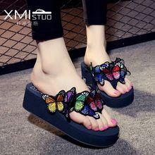 XMISTUOCool handmade 3D butterfly-knot slippers goddess increase 5.5cm slope with non-slip casual beach shoes word slippers(China)