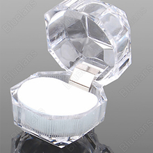 Hot 10pcs Wholesale Acrylic Ring Display Box Storage Organizer Gift Package Carrying Case Transparent(China)