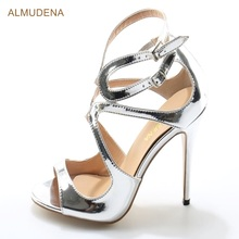 ALMUDENA New Year Silver Patent Leather Dress Sandals Shiny Cross Strap High Heel Shoes Cut-out Gladiator Heels Bridal Shoes(China)