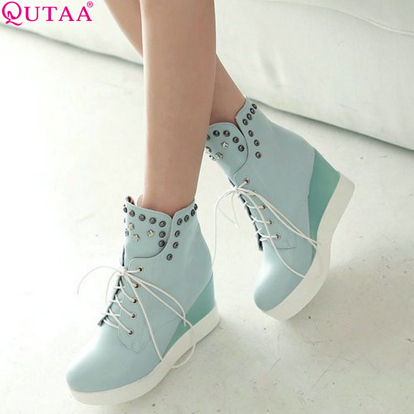 QUTAA Fashion Sexy Platform High Heel Heels Women Boots Lace Up Rivet Women Ankle Boots Size 34-42<br><br>Aliexpress