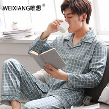 Weixiang Mens Cotton Pajamas Set Turn Down Collar Full Sleeve Dots Print Sleepwear Autumn Male Plus Size Comfortable Homewear(China)