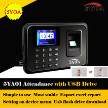 5YOA with usb drive flash Biometric Fingerprint Time Clock Recorder Attendance Employee Machine Punch Card ID Reader System(China)