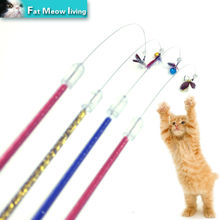 Handmade Pet cat toy Cute Design Steel Wire Feather Teaser Wand Plastic Toy for cats interactive Products For pets Free shipping