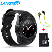 LANGTEK V8 WristWatch Bluetooth Smart Watch Sport Pedometer With SIM Camera Smartwatch For Android and iphone Smartphone