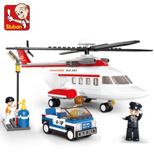 B0363 SLUBAN Private Helicopter Aircrew Air Bus Model Building Blocks Enlighten Action Figure Toys For Children Compatible Legoe