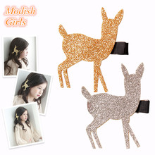 Christmas Girls Kid Glitter Fawn Gold Silver Barrette Christmas Eve Party Hairpin Hair Accessories Princess Headwear Hair Clips