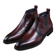 787f72bd57e Fashion black   brown tan Goodyear Welt shoes mens oxfords ankle boots  genuine leather dress shoes