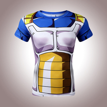 New 2017 men, animation Vegeta 3D tight short sleeve T-shirt Classic Anime Dragon Ball Z Super Saiyan 3d t shirt  tees tops