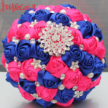 WifeLai-A 1Piece Royal Blue Rose Red Bridal Bouquets Shiny Diamond Brooch Pearl Artificial Holding Flowers Wedding Bouquets W278