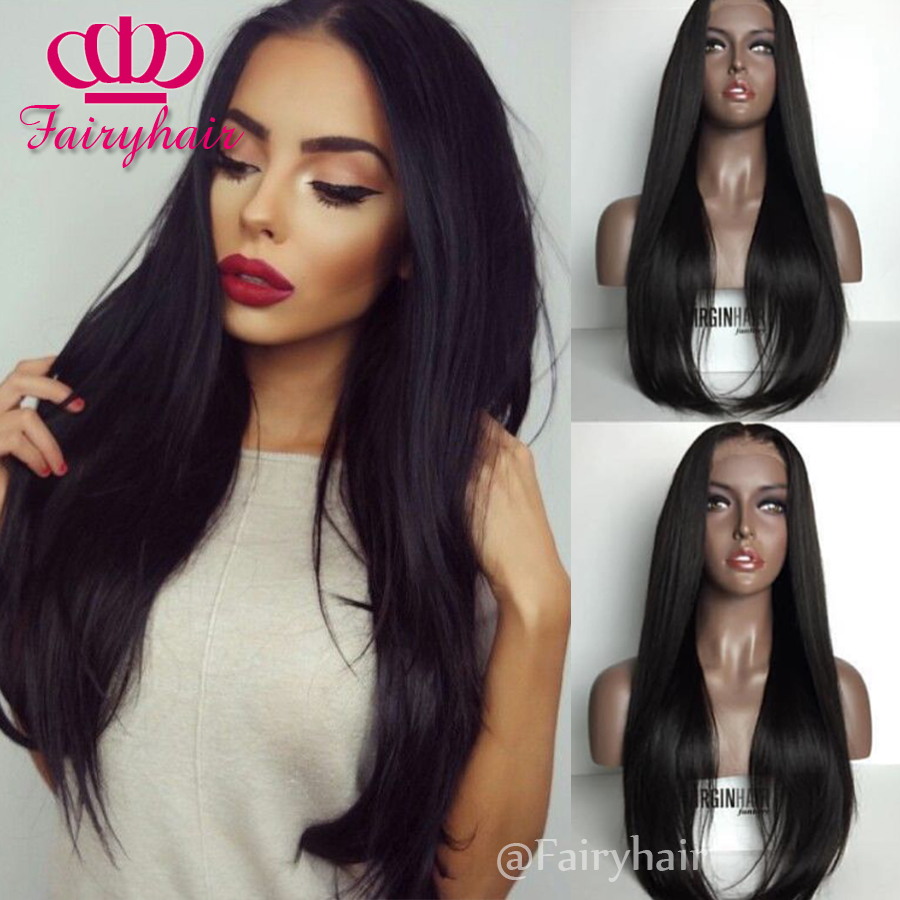 Cheap Silky Straight Synthetic Lace Front Wig With Natural Hairline Black Women Wigs Top Quality Heat Resistant Hair wigs<br><br>Aliexpress
