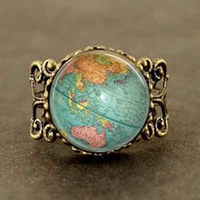 Vintage Globe Ring Planet Earth World Map Art Ring Free shipping glass dome mens womens 1pcs/lot antique traveller star wars hot