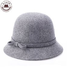 New Elegant Women Winter Church Hats ladies Wool Dome Fedoras Cheap Winter Warm Bowler hat for women