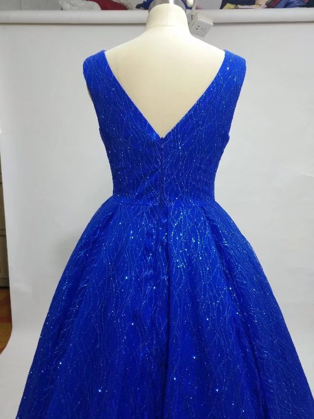 glitter royal V neck dazzling prom dress