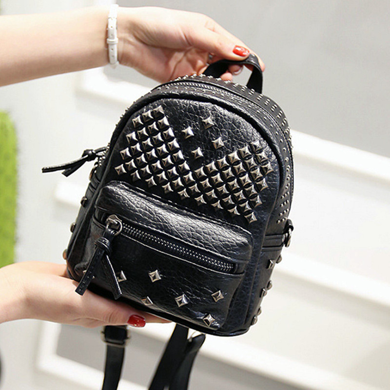 Women Mini Backpacks PU Leather Riveting Casual Bags Classical Teenagers Fashion Travel Rivet Back Pack Bag Korean Style WH0142<br><br>Aliexpress