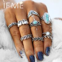 IF ME Retro Big Blue Natural Stone Rings Set for Women Mixed Flower Elephant Infinity Flower Knuckle Rings Antique Silve Color(China)