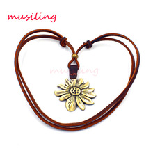 Individuation Adjustable Leather Necklace Sunflower Pendant Charms Punk Rock Hiphop Decorations Amulet Fashion Jewelry 1pcs(China)