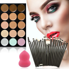 Beauty Silicone Sponge Fashion Maquiagem Cute 15-Color Concealer +20 Makeup Brush + Water Puff Puff Powder Puff(China)