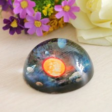 80mm 3D Solar System Pattern Decorative Glass Paperweights Crystal Half Sphere Ball Collection Tabletop Souvenir Home Decoration