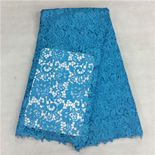 16LSummer Style Geometric Figure and Gear Design sky blue Guipure Lace Fabric Panic Buying and High Quality Water Soluble La