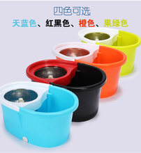 High quality Dual-drive Rotating Mop bucket Magic mops Household Cleaning Tools with Metal tray & 7 mop heads(China)