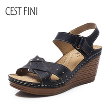 CESTFINI Wedge Sandals 2017 NEW Women High Hells Sandals PU Leather Women Casual Shoes Black And  Pink Big Size 36-41 #SA011