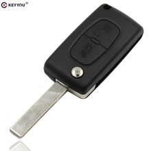 KEYYOU Flip Folding 2 Button Remote Key Case Shell For Citroen C2 C5 C3 C4 C6 C8 CE0523 With Groove(China)