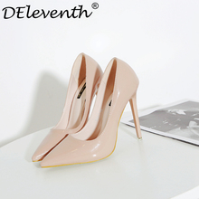 Fashion Ladies Wedding Shoes Women Sexy Stiletto Pointed Toe High Heels Pumps Shoes Red Black White Apricot Wine Color US8.5  40