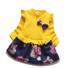 BibiCola Winter Children Clothing Baby Girls Dress Kids Thick Warm Girl Velvet Christmas Dress Kids Girl Floral Cashmere Clothes(China)