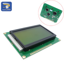 2PCS/LOT 128*64 DOTS 5VLCD module Yellow and green screen LCD 12864 with backlight ST7920 Parallel port(China)